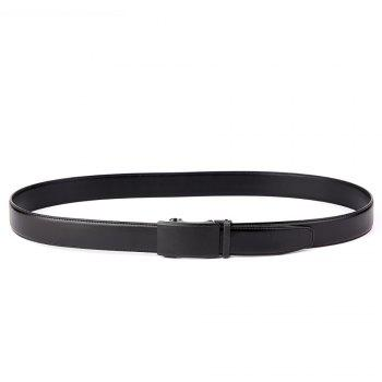 Men Leather Belt with Reversible Single Prong Buckle G89003 - BLACK 110CM