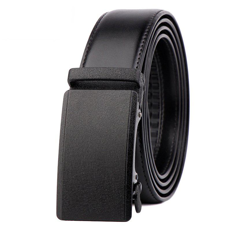 Men Leather Belt with Reversible Single Prong Buckle G89003 - BLACK 120CM