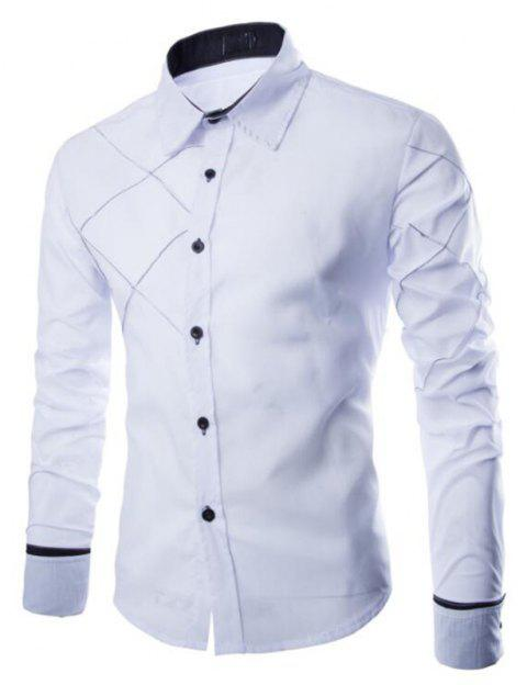 Men's Casual Simple Spell Color Long Sleeves Shirts - WHITE 2XL