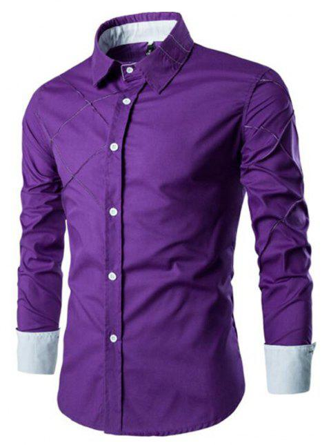 Men's Casual Simple Spell Color Long Sleeves Shirts - PURPLE 3XL