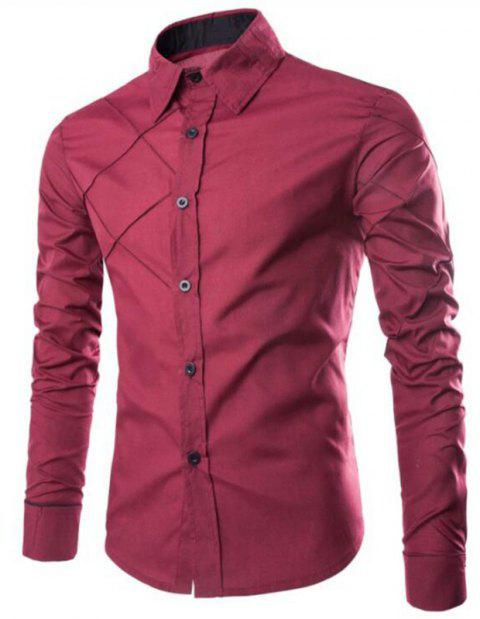 Men's Casual Simple Spell Color Long Sleeves Shirts - RED WINE 2XL