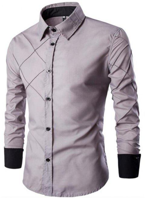 Men's Casual Simple Spell Color Long Sleeves Shirts - LIGHT GRAY 2XL