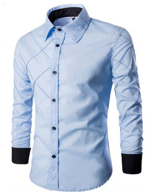 Men's Casual Simple Spell Color Long Sleeves Shirts - LIGHT SKY BLUE M