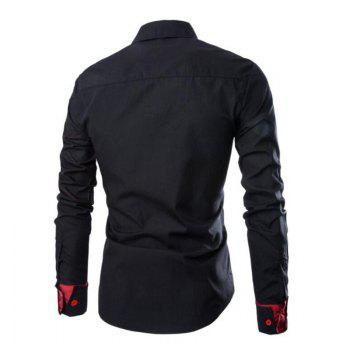 Men's Casual Simple Spell Color Long Sleeves Shirts - BLACK BLACK