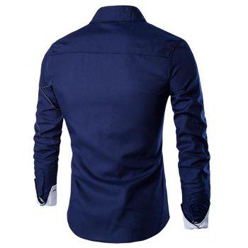 Men's Casual Simple Spell Color Long Sleeves Shirts - CADETBLUE XL