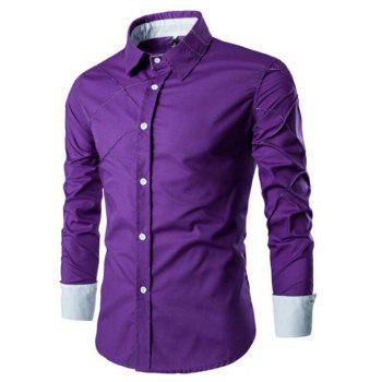 Men's Casual Simple Spell Color Long Sleeves Shirts - PURPLE PURPLE