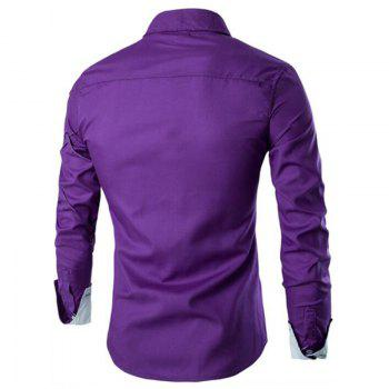Men's Casual Simple Spell Color Long Sleeves Shirts - PURPLE L