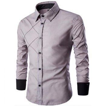 Men's Casual Simple Spell Color Long Sleeves Shirts - GRAY GRAY