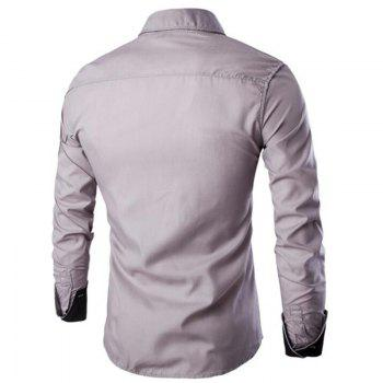 Men's Casual Simple Spell Color Long Sleeves Shirts - GRAY 3XL