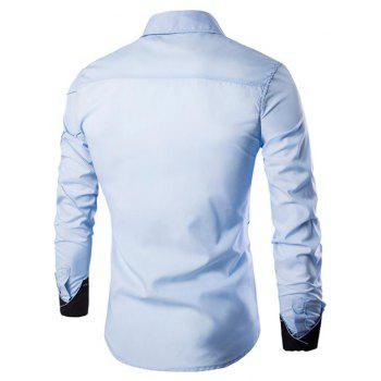 Men's Casual Simple Spell Color Long Sleeves Shirts - LIGHT BULE M