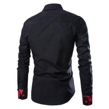 Men's Casual Simple Spell Color Long Sleeves Shirts - BLACK L