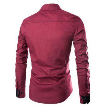 Men's Casual Simple Spell Color Long Sleeves Shirts - WINE RED L