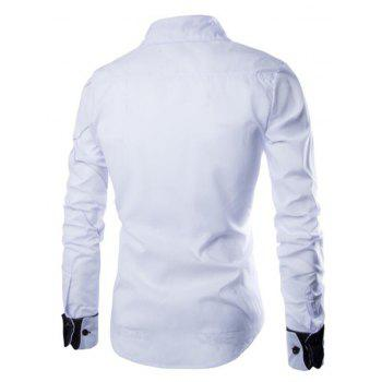 Men's Casual Simple Spell Color Long Sleeves Shirts - WHITE 3XL