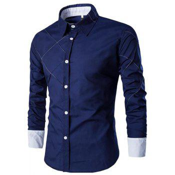 Men's Casual Simple Spell Color Long Sleeves Shirts - CADETBLUE CADETBLUE