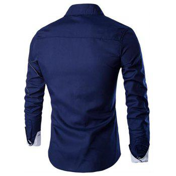 Men's Casual Simple Spell Color Long Sleeves Shirts - CADETBLUE 2XL
