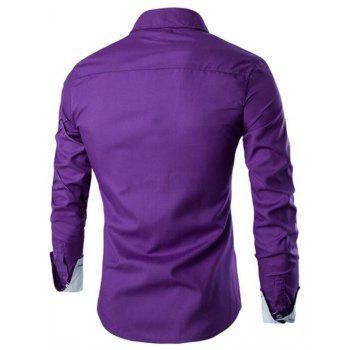 Men's Casual Simple Spell Color Long Sleeves Shirts - PURPLE M