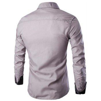 Men's Casual Simple Spell Color Long Sleeves Shirts - GRAY M