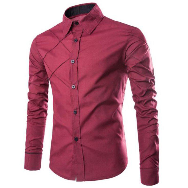 Men's Casual Simple Spell Color Long Sleeves Shirts - WINE RED 3XL