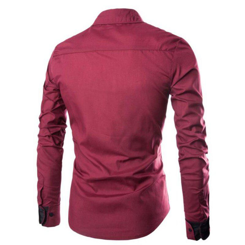 Men's Casual Simple Spell Color Long Sleeves Shirts - WINE RED XL