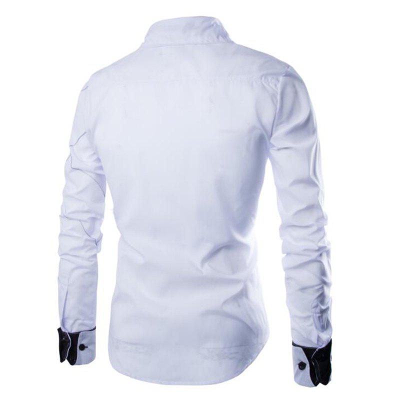 Men's Casual Simple Spell Color Long Sleeves Shirts - WHITE L