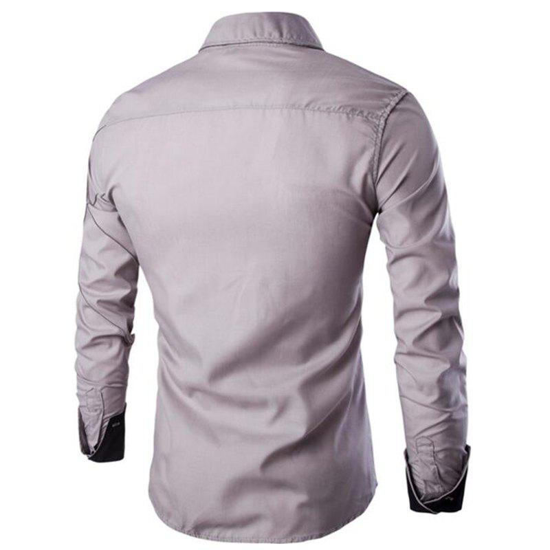 Men's Casual Simple Spell Color Long Sleeves Shirts - GRAY L