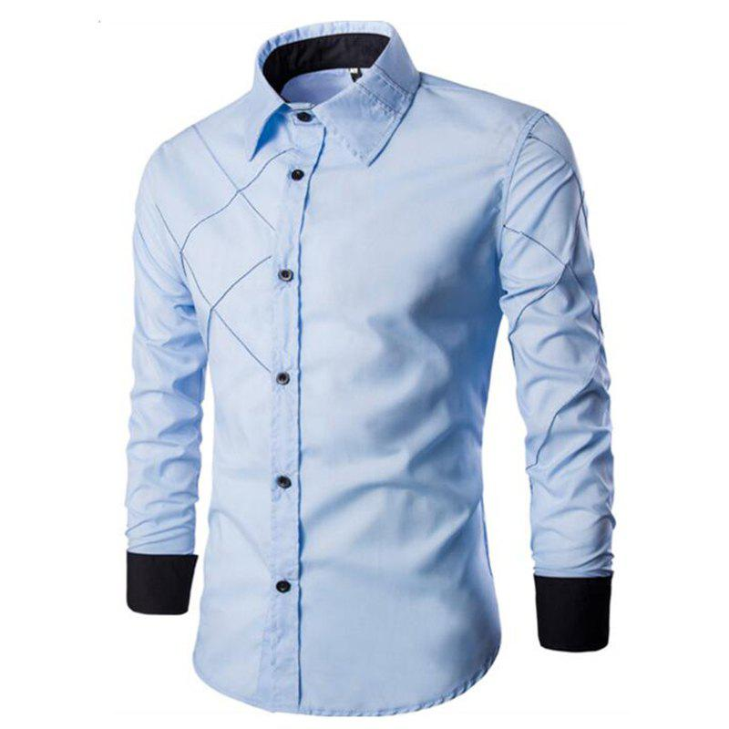 Men's Casual Simple Spell Color Long Sleeves Shirts - LIGHT BULE 3XL