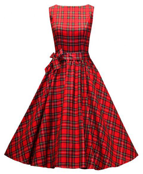 Women's Vintage Red Checked A-Line Dresses - RED XL