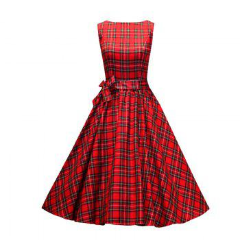 Women's Sear Vintage Red Checked One-Word Dress - RED RED
