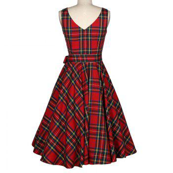 Women's Vintage Red Checked A-Line Dresses - RED L