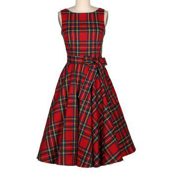 Women's Vintage Red Checked A-Line Dresses - RED S