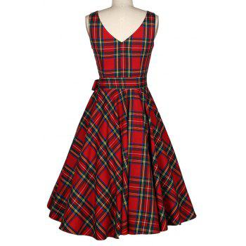 Women's Vintage Red Checked A-Line Dresses - RED M