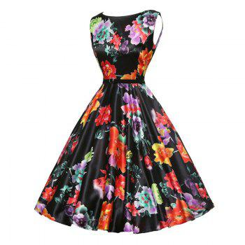 Vintage Flower Print Dress for Women - BLACK S