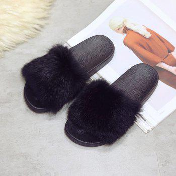 Woollen Slipper Lady Autumn New Woolly  Shoes - BLACK BLACK