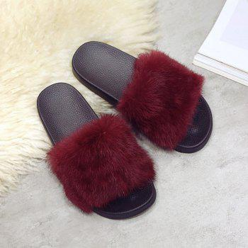 Woollen Slipper Lady Autumn New Woolly  Shoes - WINE RED 36