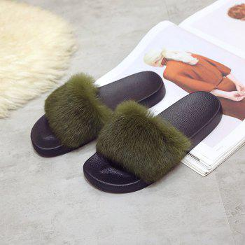 Woollen Slipper Lady Autumn New Woolly  Shoes - ARMYGREEN 36