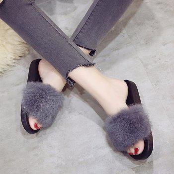 Woollen Slipper Lady Autumn New Woolly  Shoes - GRAY GRAY