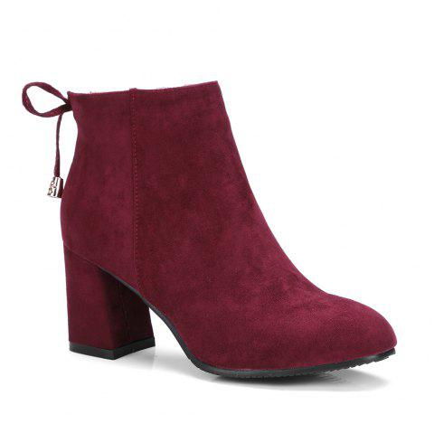 Woman Side Zipper Faux Suede Ankle Boots - BURGUNDY 38