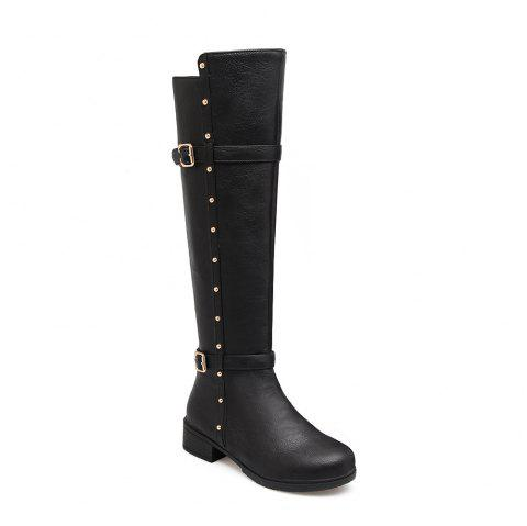 Women's Flat Top Rivet Boots - BLACK 34