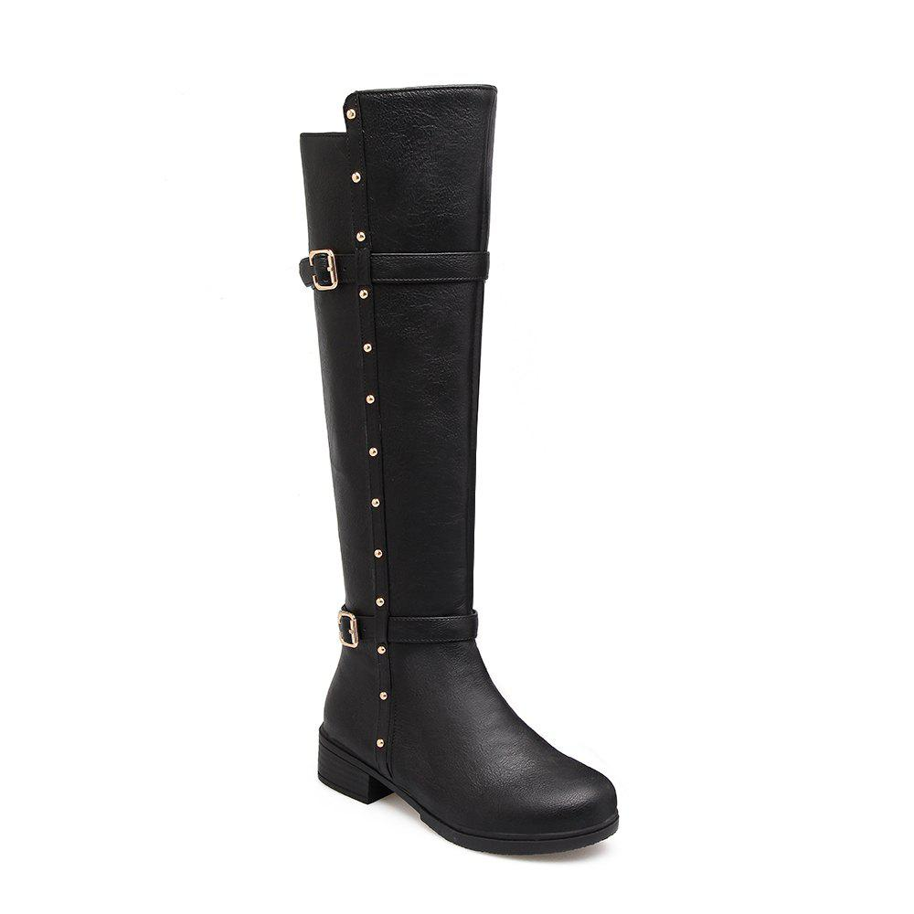 Women's Flat Top Rivet Boots - BLACK 35