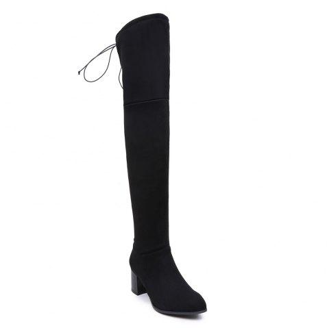 Women Winter Leather Fashion Sexy Warm Knee High Boots - BLACK 34