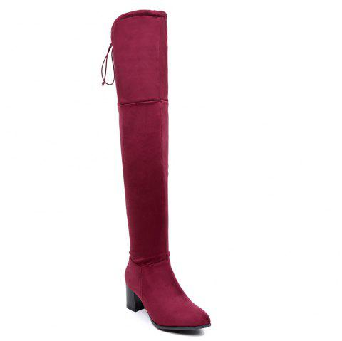 Women Winter Leather Fashion Sexy Warm Knee High Boots - RED 42