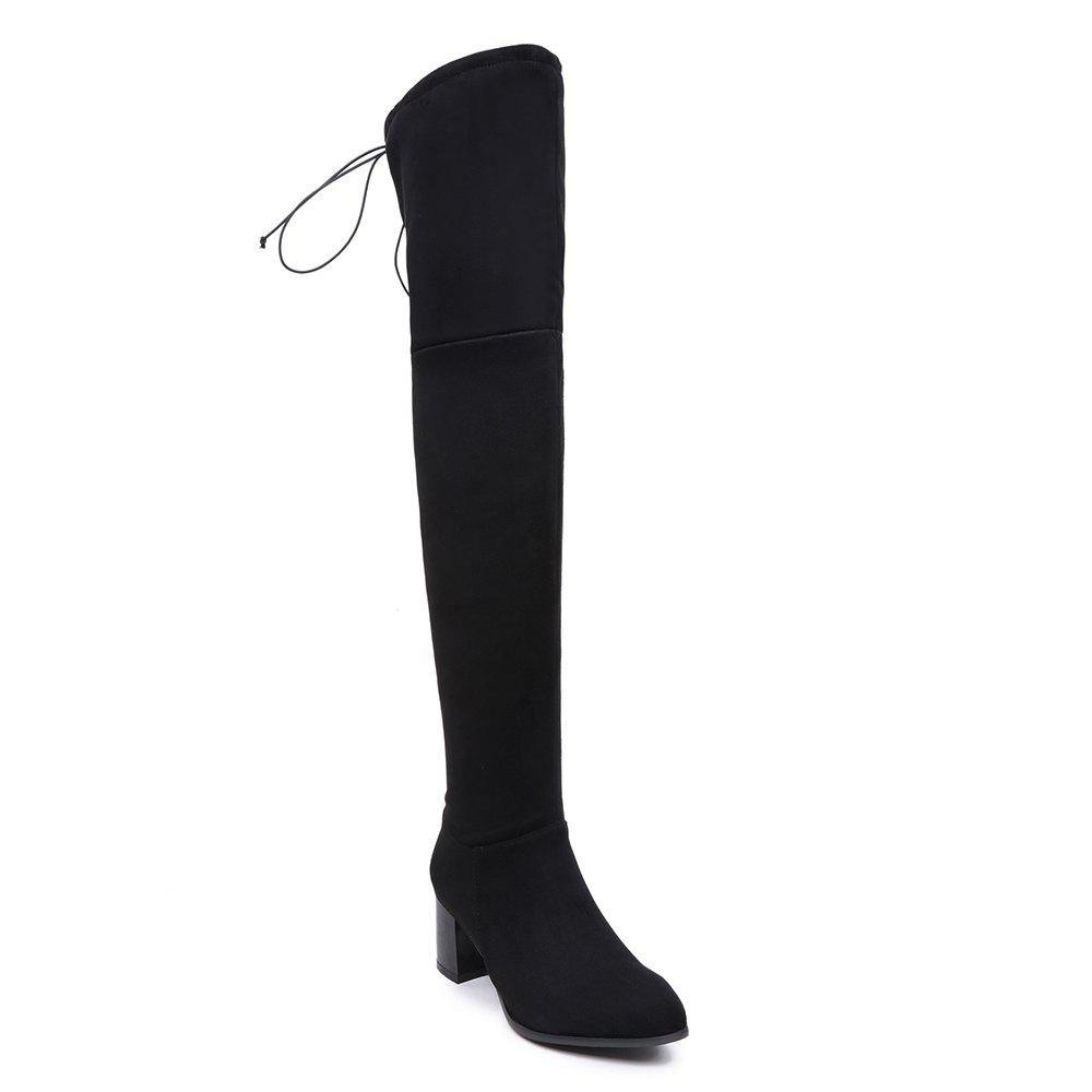 Women Winter Leather Fashion Sexy Warm Knee High Boots - BLACK 35