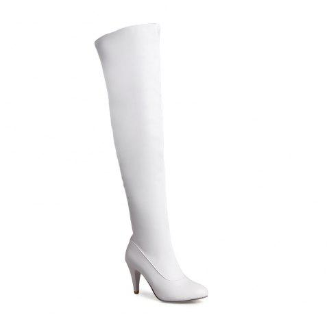 Women's Trend Above Knee Boots Sexy High Heel Boots - WHITE 34