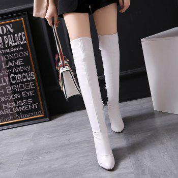 Women's Trend Above Knee Boots Sexy High Heel Boots - WHITE 37