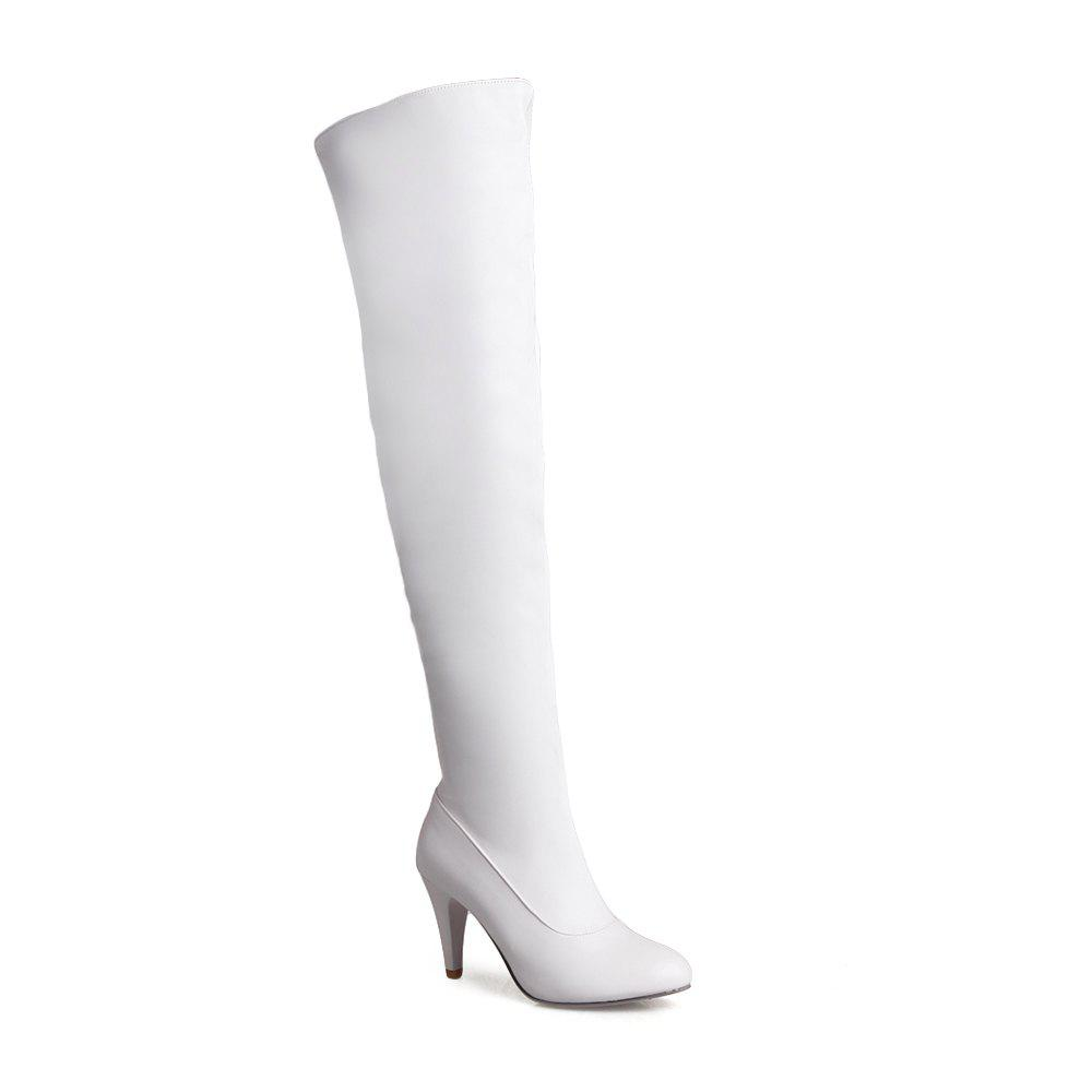 Women's Trend Above Knee Boots Sexy High Heel Boots - WHITE 35