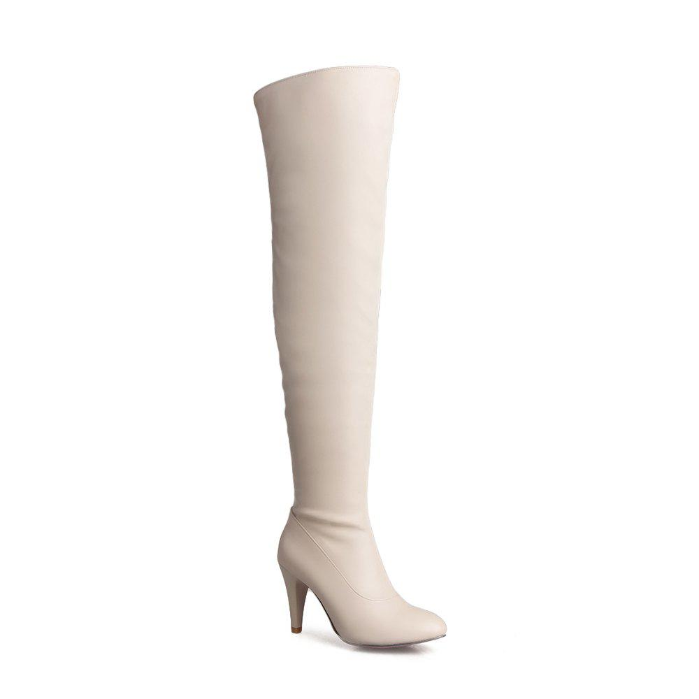 Women's Trend Above Knee Boots Sexy High Heel Boots - BEIGE 40