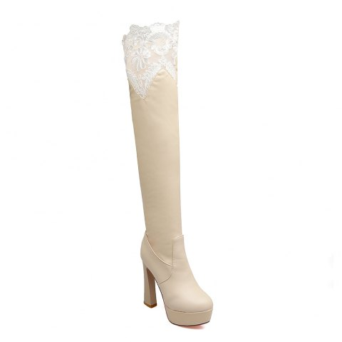 Women's Trend Lace Above Knee Boots Sexy High Heel Boots - BEIGE 37
