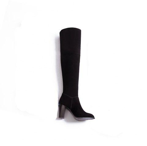 High Elastic Knee High Stovepipe Winter Boots - BLACK 43