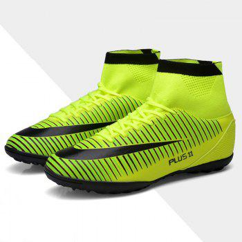Men's Sports Shoes Color Block Lacing Fashion Football Shoes - GREEN 39