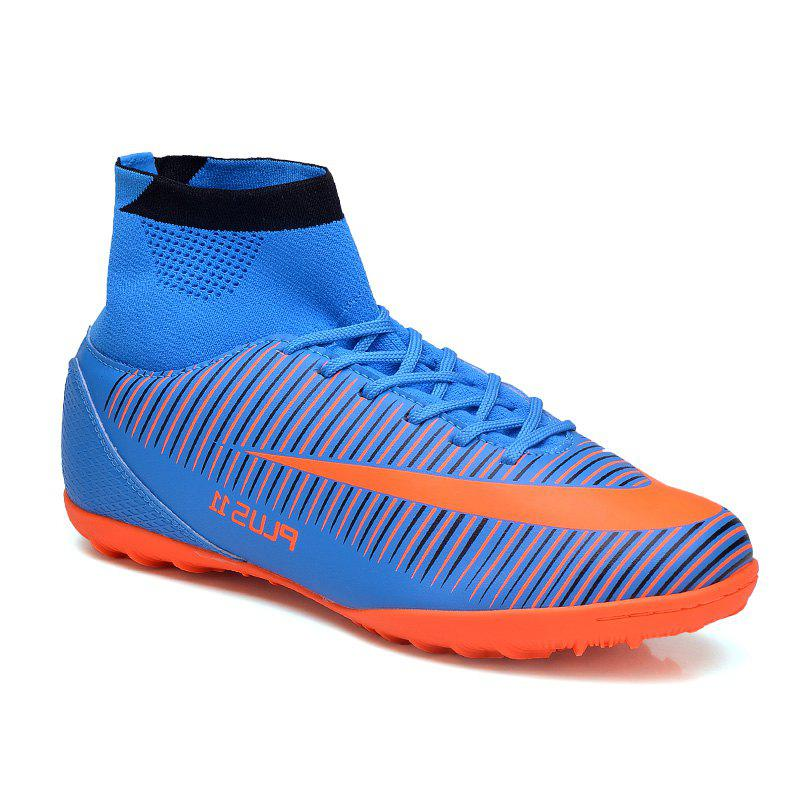 Men's Sports Shoes Color Block Lacing Fashion Football Shoes - BLUE 40